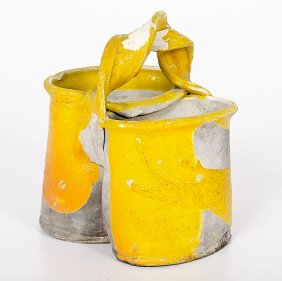 Betty Woodman (1930, USA) Utensil Strainer, 1978 Raku Earthenware ht. 7.5, wd. 6, dp. 5.25 inches Artist stamp on foot An amazing early work by Woodman showing where she would eventually take her ceramic works in the following decades.