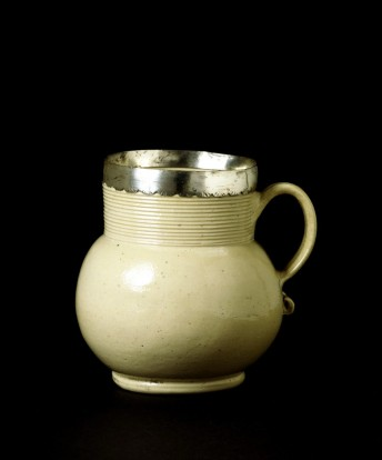 "Stoneware mug with silver collar by John Dwight, 1682. V&A The stoneware mugs of this shape were termed 'gorges', meaning narrow-necked vessels"" V&A"