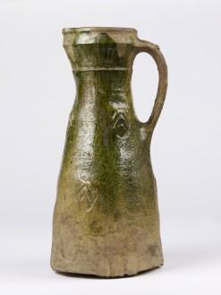 Lead-glazed earthenware jug, probably made in Surrey, 1300-1325.